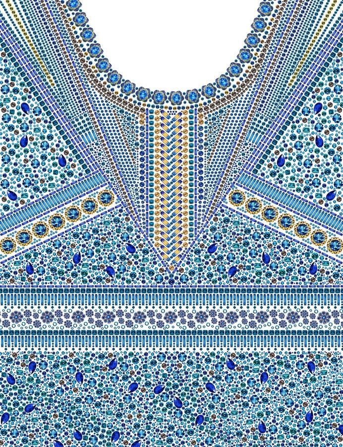 Projeto gráfico do teste padrão da joia para a roupa imagens de stock royalty free