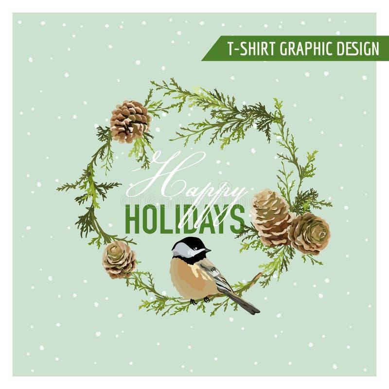 Projeto gráfico dos pássaros do inverno do Natal ilustração royalty free