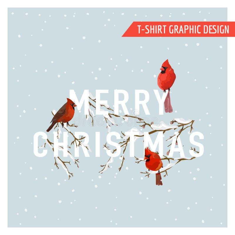 Projeto gráfico dos pássaros do inverno do Natal ilustração stock