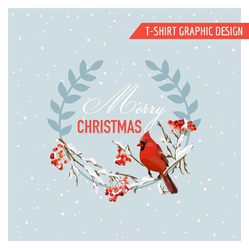Projeto gráfico dos pássaros e das bagas do inverno do Natal - para o t-shirt ilustração do vetor