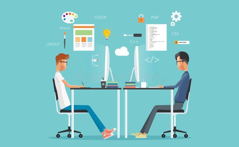Projeto gráfico e programador web que trabalham no local de trabalho ilustração do vetor
