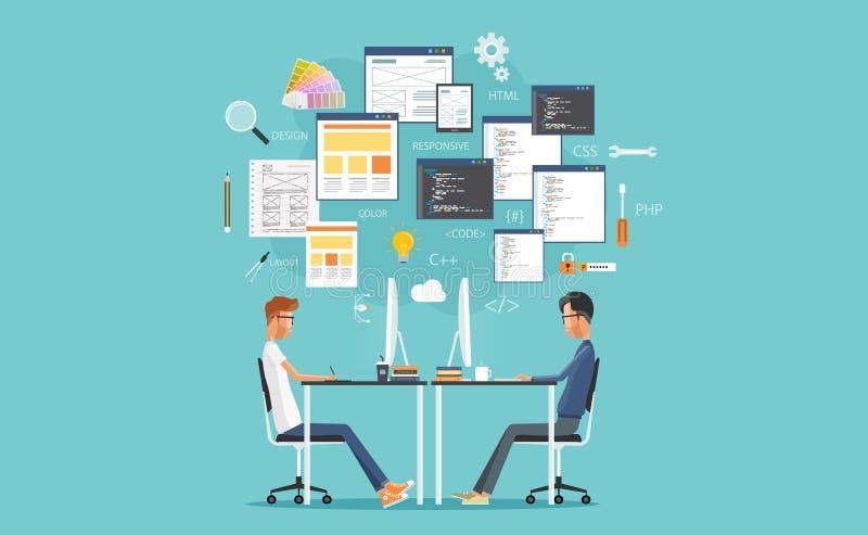 Projeto gráfico e programador web que trabalham no local de trabalho torne para o Web site e a aplicação ilustração royalty free