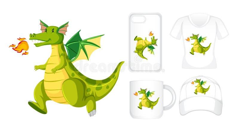 Projeto gráfico em produtos diferentes com dragão verde ilustração stock