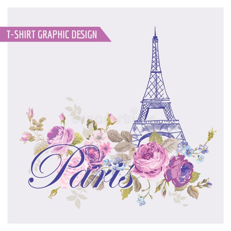 Projeto gráfico floral de Paris do t-shirt ilustração do vetor