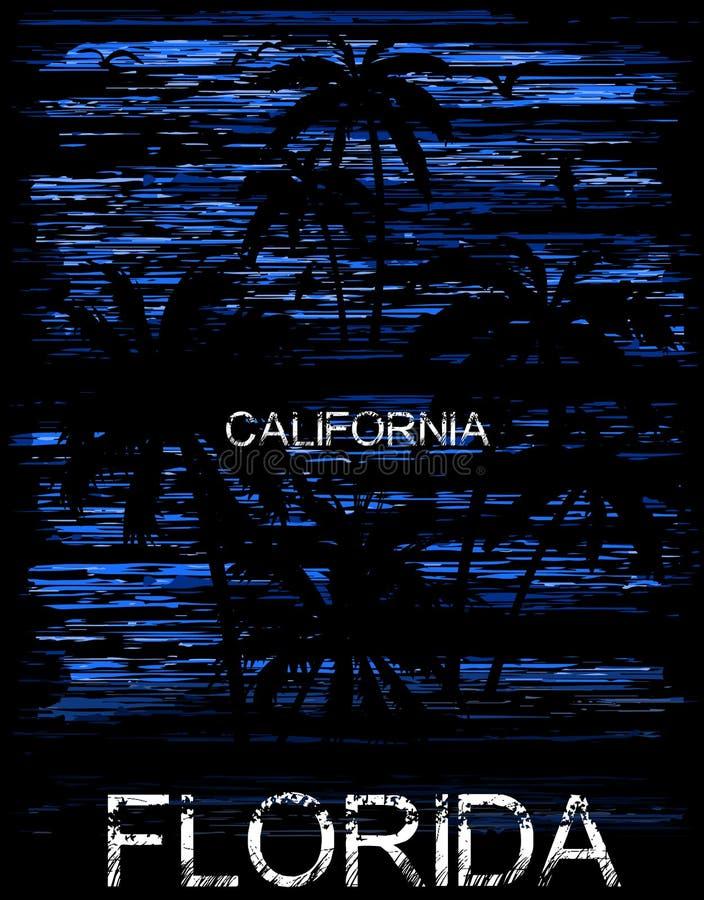 Projeto gráfico florida Califórnia do T do verão ilustração do vetor