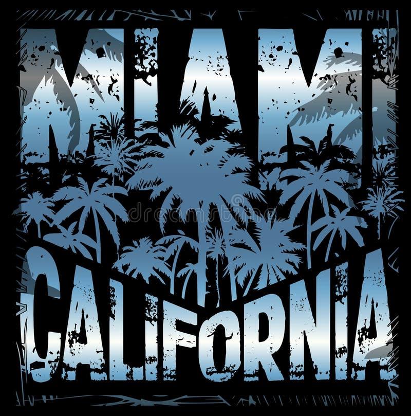 Projeto gráfico miami Califórnia do T do verão ilustração do vetor