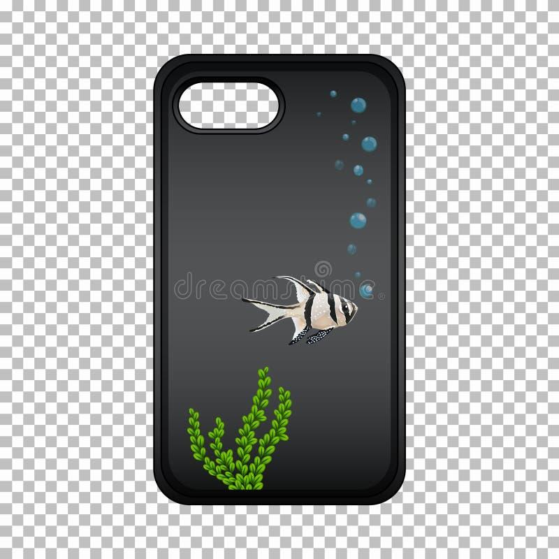Projeto gráfico no caso do telefone celular com peixes bonitos ilustração stock