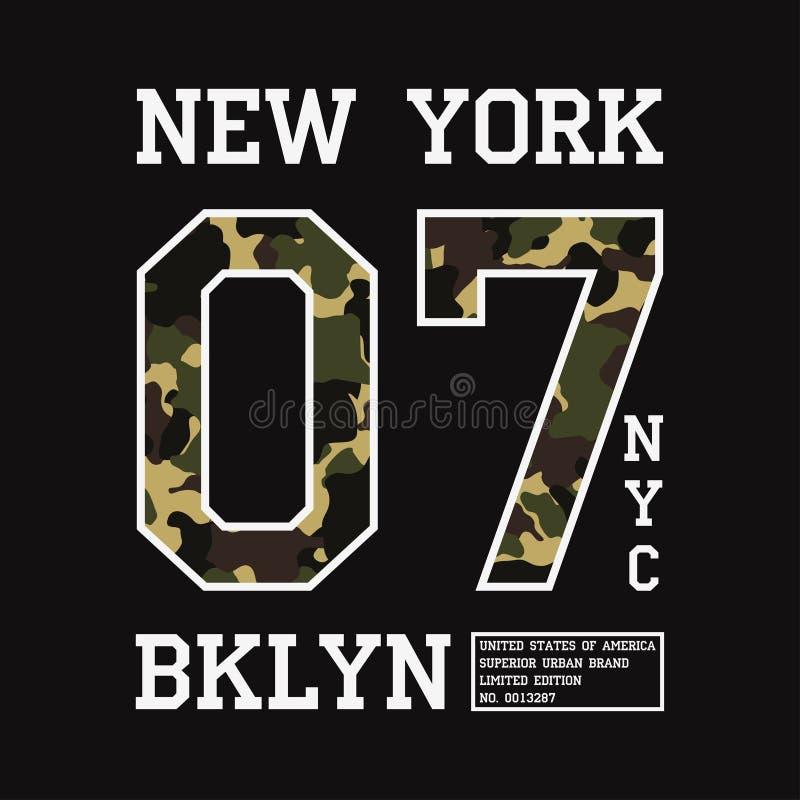 Projeto gráfico para o t-shirt com textura da camuflagem Cópia do t-shirt de New York com slogan Tipografia do fato de Brooklyn V ilustração stock