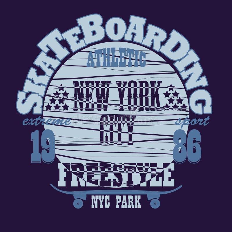 Projeto gráfico Skateboarding do t-shirt de New York ilustração royalty free