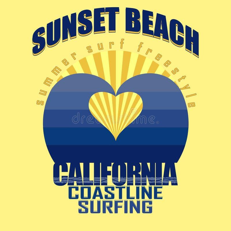 Projeto gráfico surfando do t-shirt Praia do por do sol ilustração stock