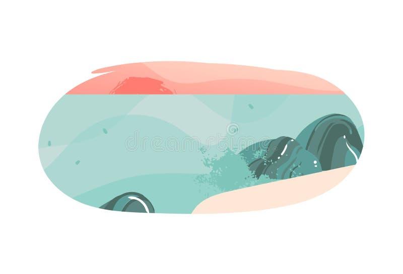 Projeto gráfico tirado mão do crachá do fundo do molde das ilustrações de Havaí das horas de verão dos desenhos animados do sumár ilustração royalty free