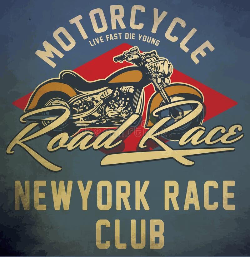 Projeto gráfico tirado mão do T do vetor da motocicleta do vintage ilustração stock