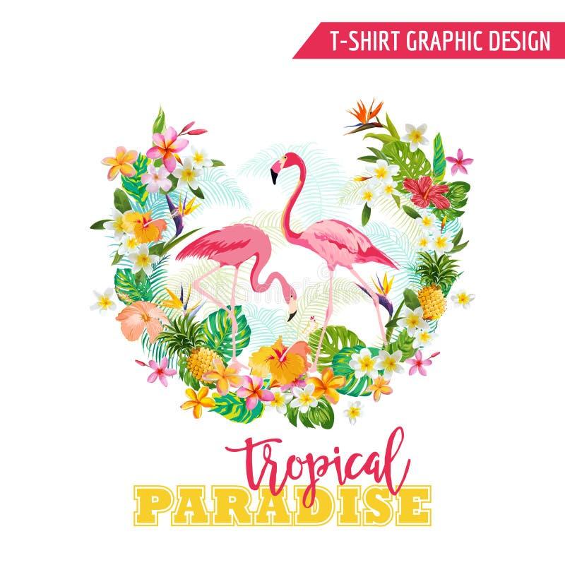Projeto gráfico tropical - flamingo ilustração royalty free