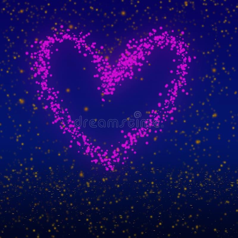 Projeto gravado brilho do coração Arte finala do tema do dia de Valentim ilustração do vetor