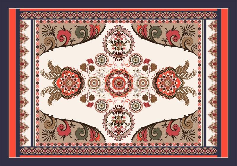 Projeto h?ngaro colorido do vetor para o tapete, toalha, tapete, mat?ria t?xtil, tela, tampa Decorativo estilizado floral brilhan ilustração stock