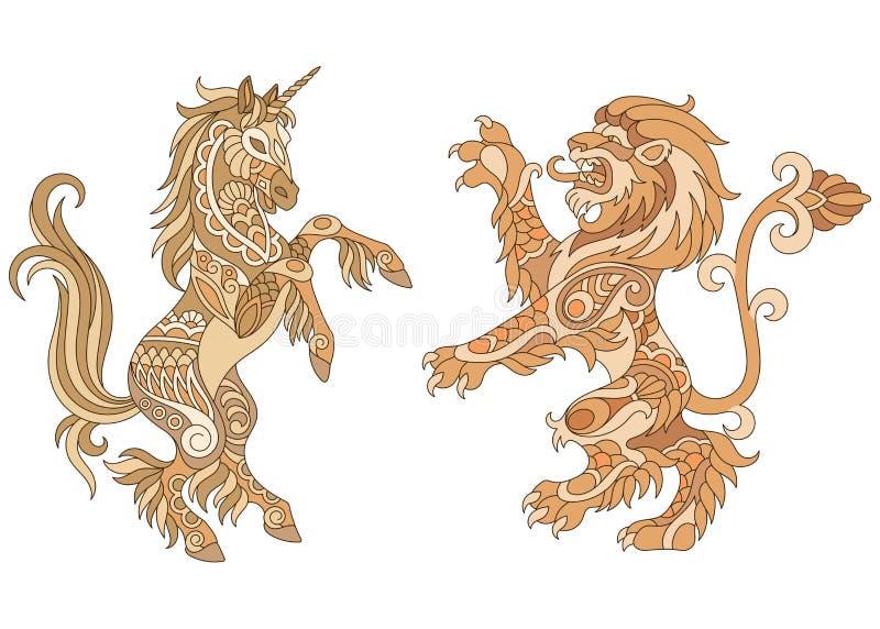 Projeto heráldico do unicórnio e do leão ilustração royalty free
