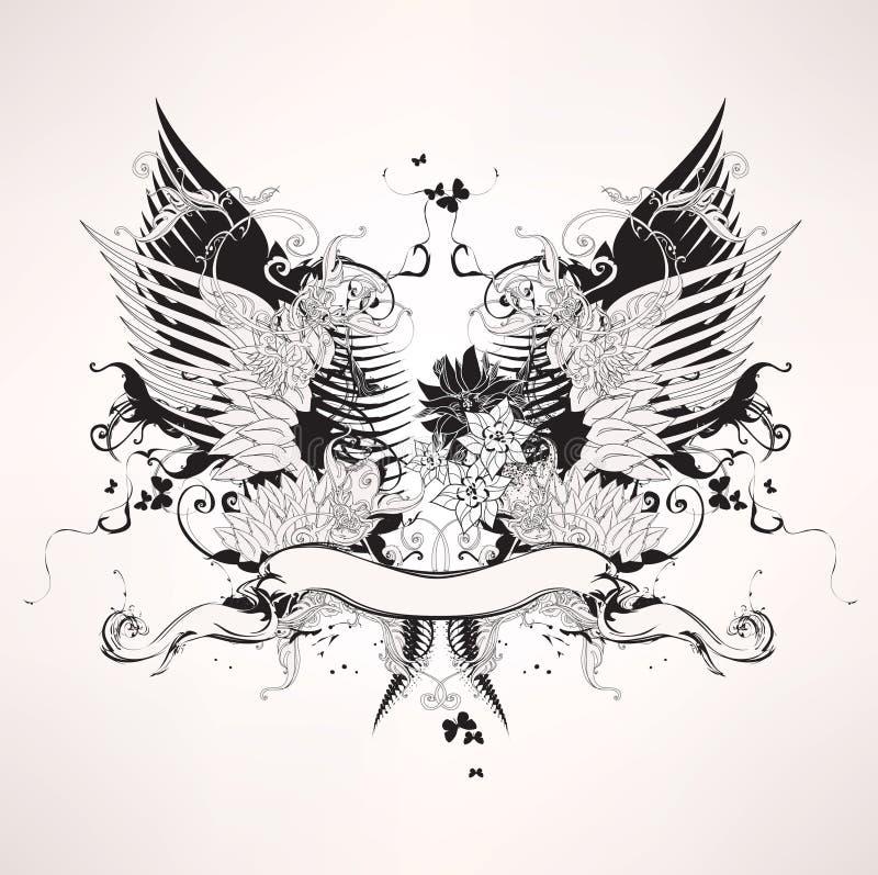 Projeto heráldico do vintage de Grunge ilustração stock