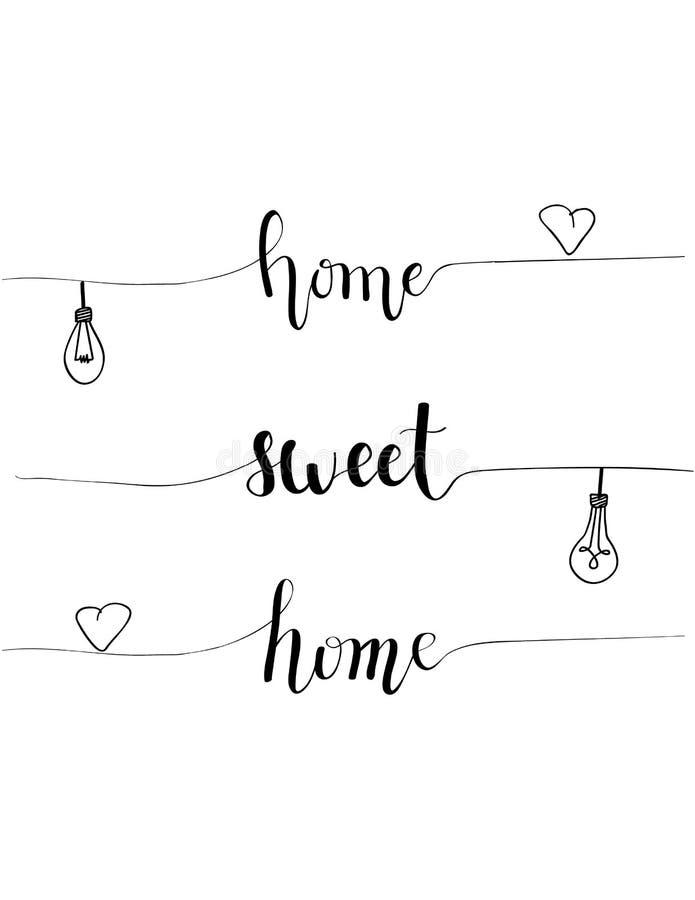 Projeto home doce home desenhado à mão da caligrafia do provérbio do vetor para a decoração interior da casa com ampolas e coraçõ ilustração stock