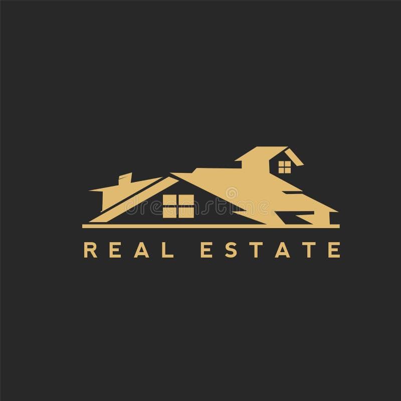 Projeto home dourado do vetor do logotipo ilustração stock