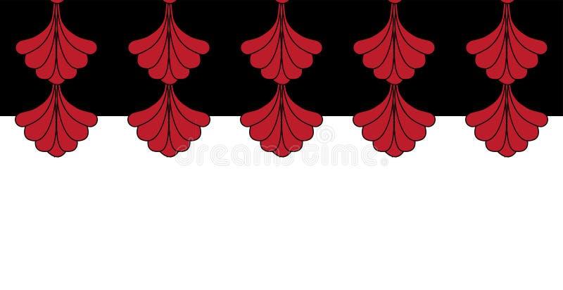 Projeto horizontal geométrico do teste padrão da repetição de Gatsby Art Deco Red Border Frame ilustração do vetor