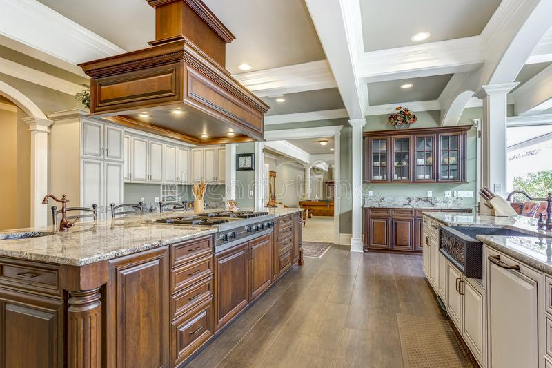 Projeto impressionante da sala da cozinha com a grande ilha do estilo da barra fotografia de stock royalty free
