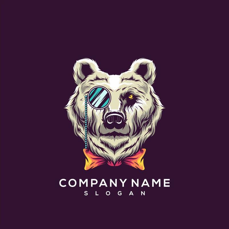 Projeto impressionante do logotipo do urso ilustração royalty free