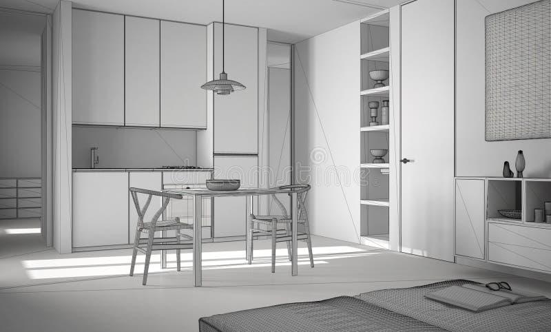 Projeto inacabado da cozinha brilhante moderna minimalista com mesa de jantar e cadeiras, interior branco da arquitetura ilustração stock