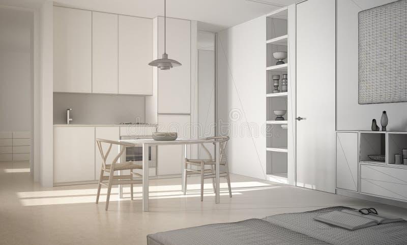 Projeto inacabado da cozinha brilhante moderna minimalista com mesa de jantar e cadeiras, interior branco da arquitetura ilustração royalty free