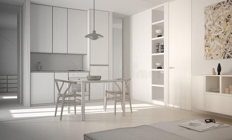 Projeto inacabado da cozinha brilhante moderna minimalista com mesa de jantar e cadeiras, interior branco da arquitetura ilustração do vetor
