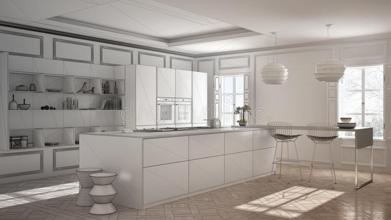 Projeto inacabado da mobília moderna da cozinha na sala clássica, ilustração stock