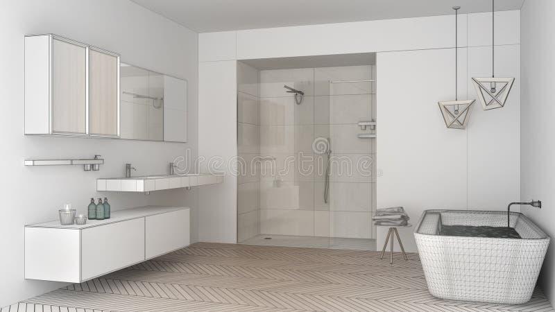 Projeto inacabado do banheiro brilhante minimalista com pecado dobro ilustração royalty free