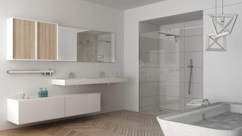 Projeto inacabado do banheiro brilhante minimalista com pecado dobro ilustração do vetor