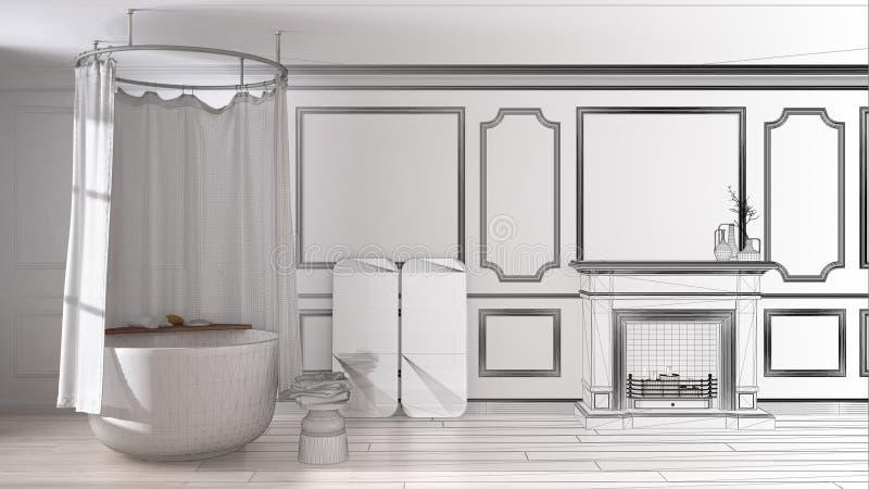 Projeto inacabado do banheiro do vintage no espaço clássico com o assoalho velho da chaminé e de parquet imagens de stock