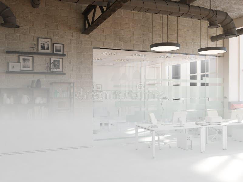 Projeto inacabado do interior coworking do escritório do estilo country rendição 3d foto de stock royalty free
