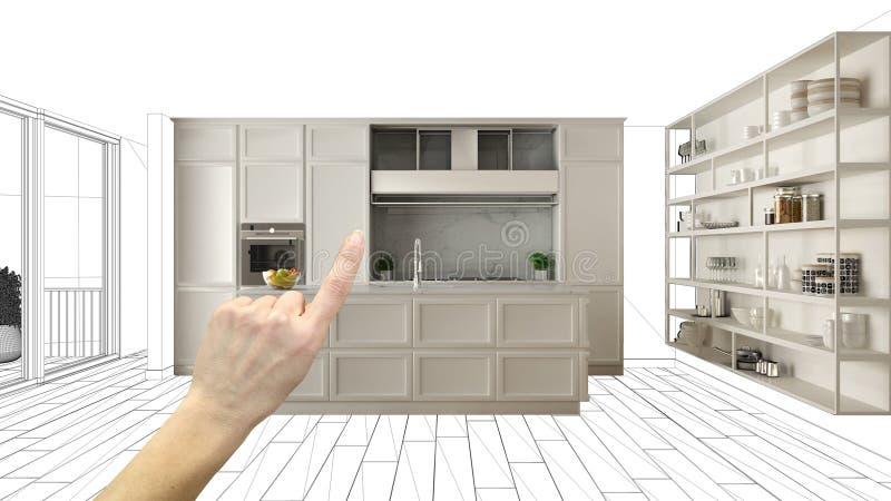 Projeto inacabado, sob o esboço da construção, esboço do design de interiores do conceito, mão que aponta a cozinha clássica real ilustração do vetor
