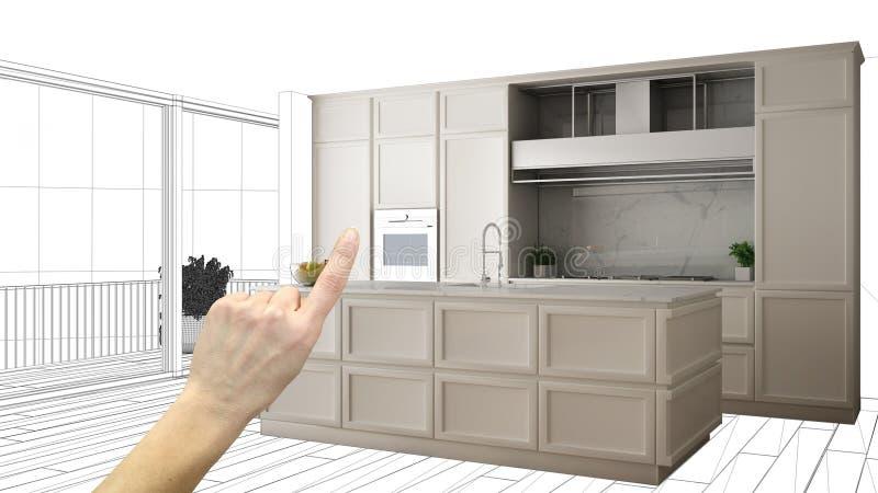 Projeto inacabado, sob o esboço da construção, esboço do design de interiores do conceito, mão que aponta a cozinha clássica real ilustração stock