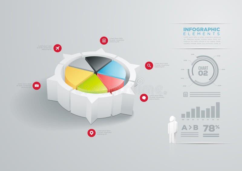 Projeto infographic da carta de torta ilustração do vetor