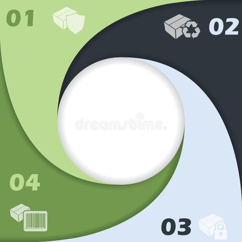Projeto infographic dado fôrma círculo com ícones ilustração do vetor