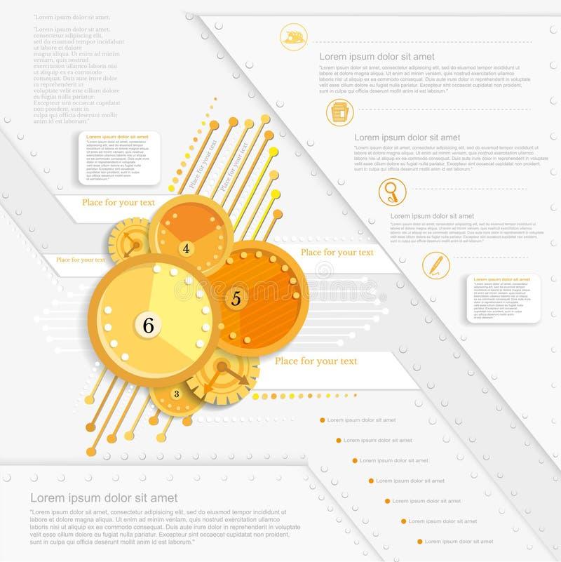 Projeto infographic do círculo alaranjado abstrato para sua arte finala relativa à promoção do negócio ilustração royalty free