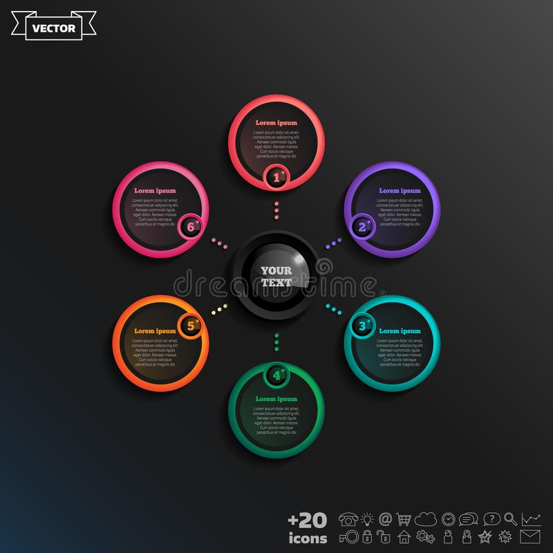 Projeto infographic do vetor com círculo colorido ilustração stock