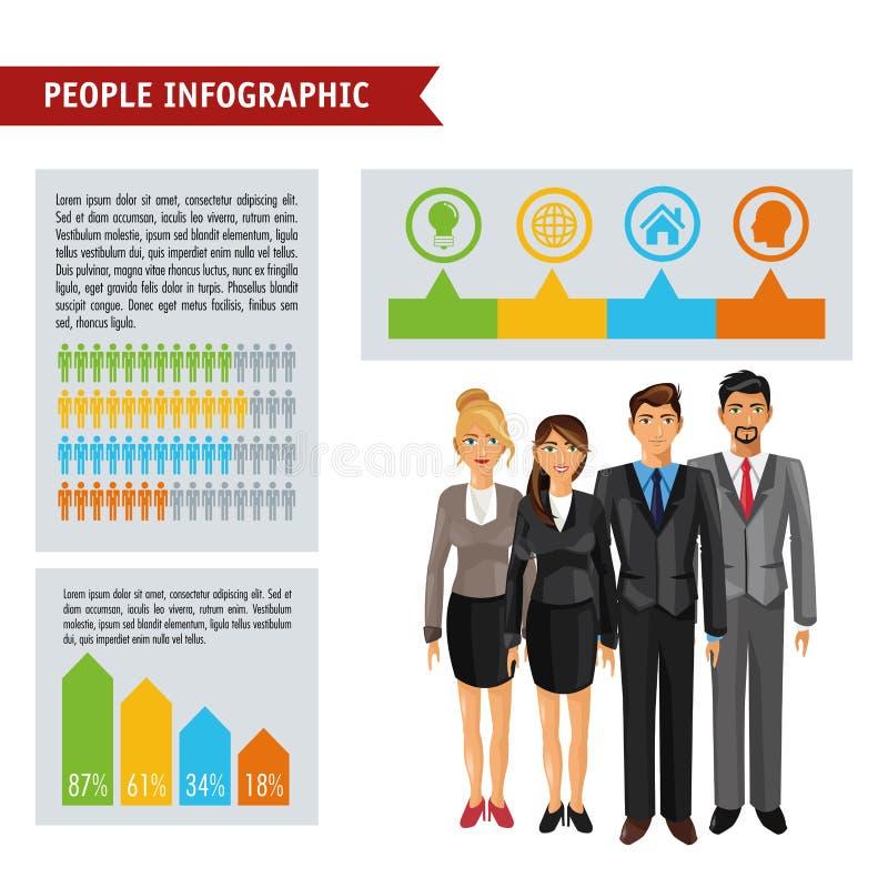 Projeto infographic dos povos ilustração do vetor