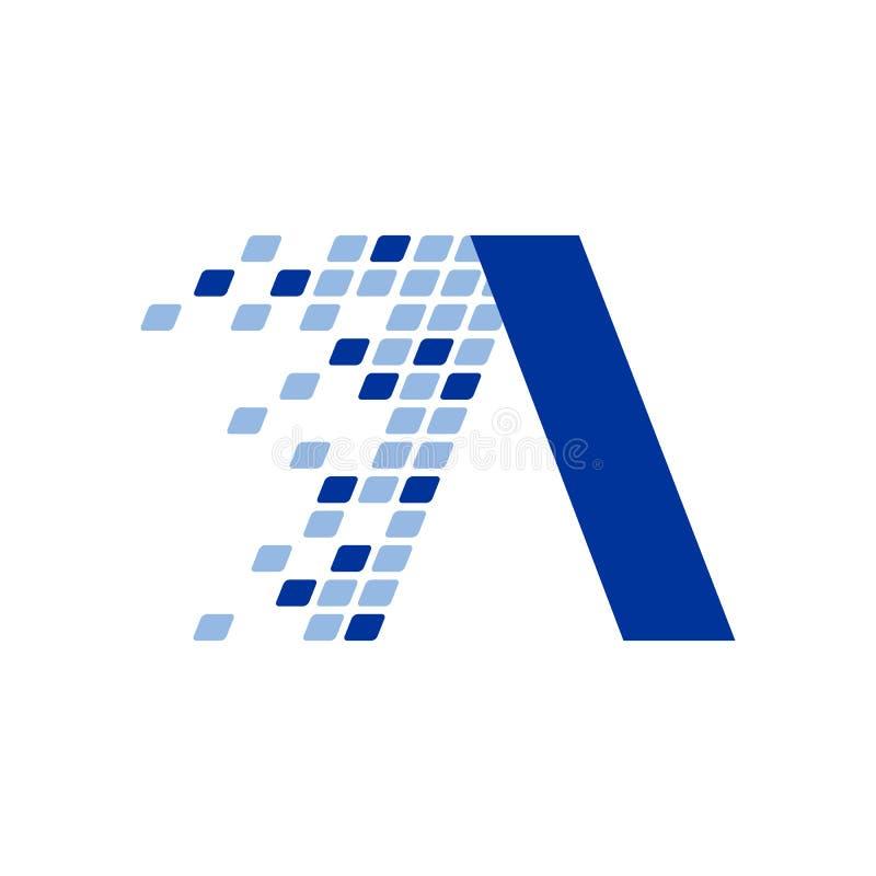 Projeto inicial do símbolo do movimento do fragmento dos dados de Digitas da letra de A ilustração do vetor