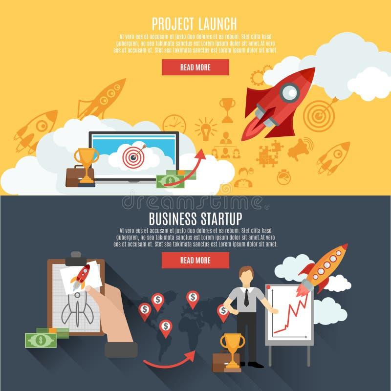 Projeto interativo do Web page das bandeiras do lançamento de Rocket ilustração do vetor