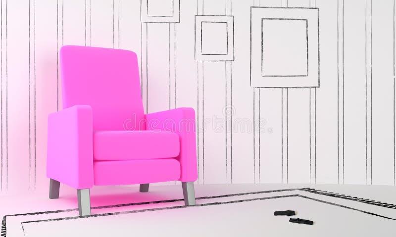 Projeto interior - assento cor-de-rosa ilustração do vetor
