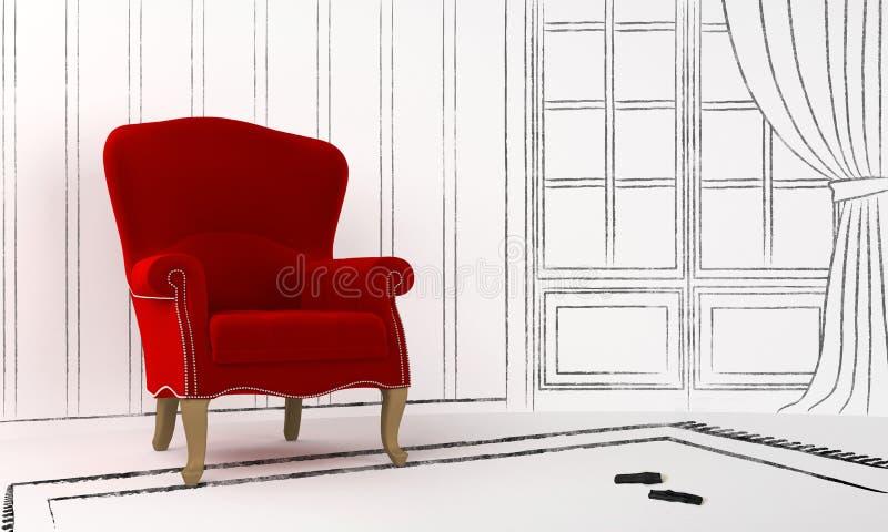 Projeto interior - assento vermelho ilustração stock