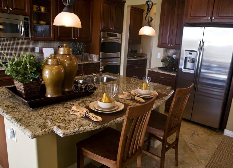 Projeto interior da cozinha moderna imagem de stock royalty free