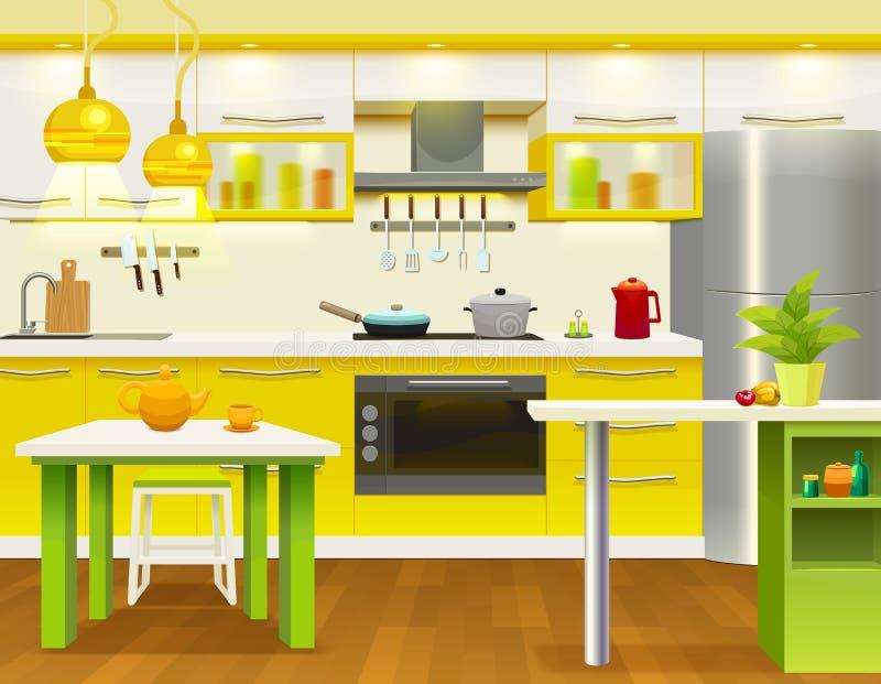 Projeto interior da cozinha moderna ilustração royalty free
