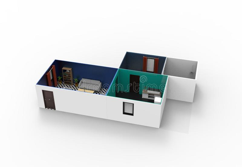 Projeto interior da sala ilustração do vetor