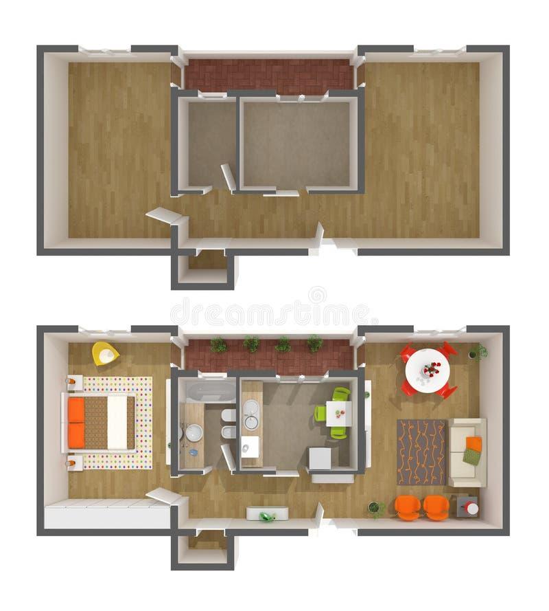 Projeto interior do apartamento - vista 3d superior ilustração stock