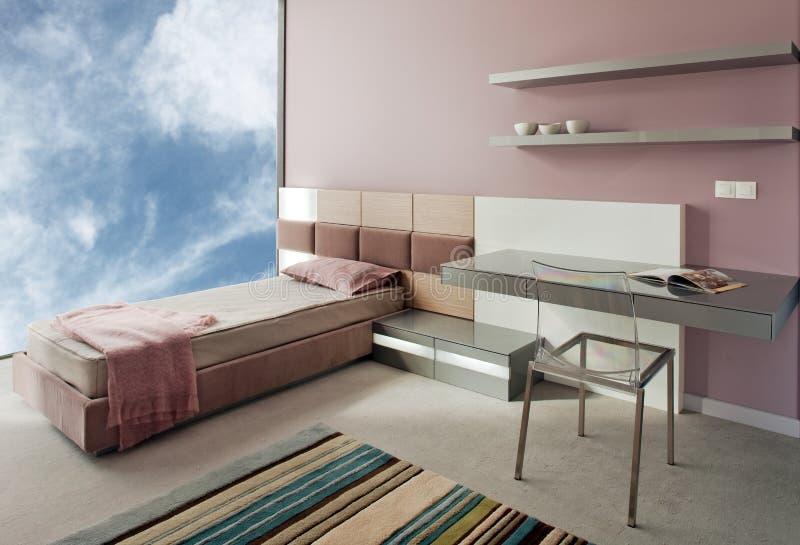 Projeto interior do quarto novo bonito e moderno. imagem de stock royalty free